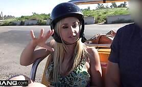 BANG Real MILFS Sarah Vandella sucks & rides cock in public