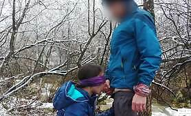 Public Blowjob And Cum Swallow Near The Mountain River