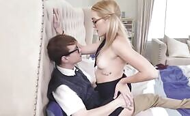 Blonde schoolgirl cosplayer seduces nerdy classmate while ditching