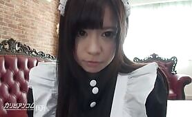 Japanese maid cosplayer getting fingered by her boss
